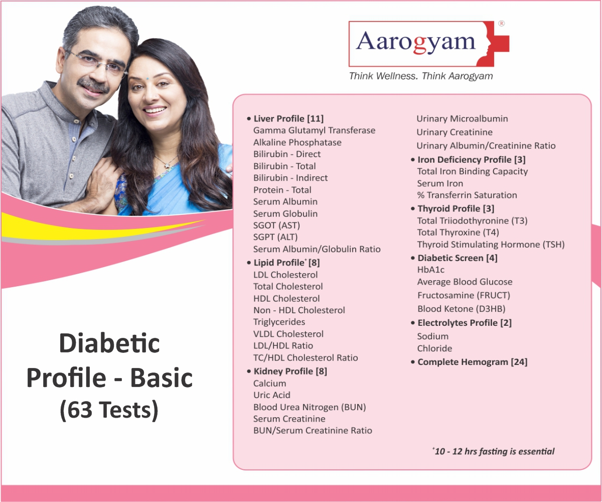 Thyrocare DIABETIC PROFILE - BASIC @Rs.1050 Only | 63 Tests | Thyrocare Packages