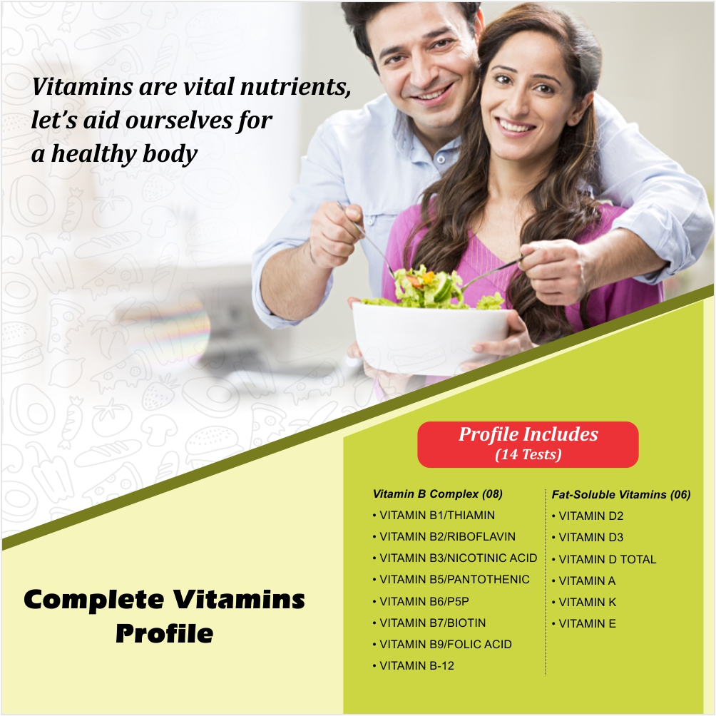 COMPLETE VITAMINS PROFILE in Hyderabad @₹2100 Only | 14 Tests | Thyrocare