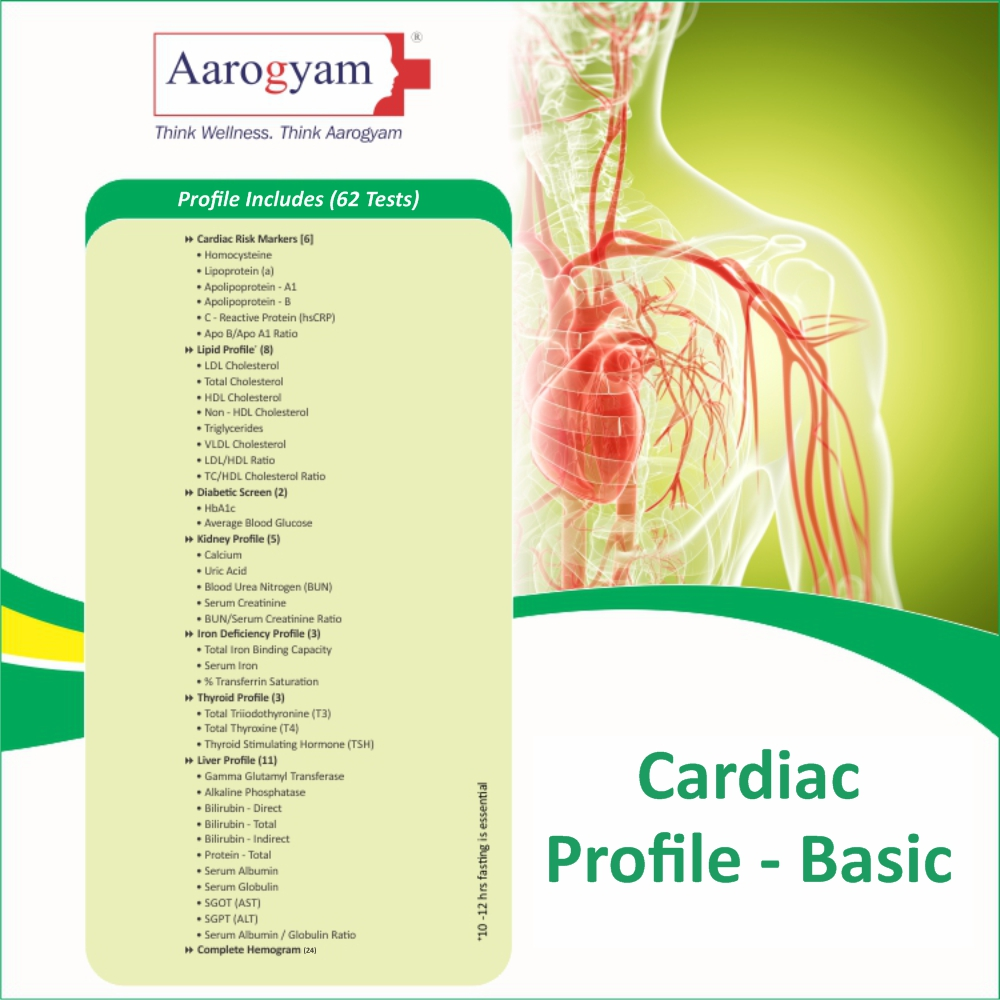 CARDIAC PROFILE - BASIC in Bangalore @₹2100 Only | 62 Tests | Thyrocare