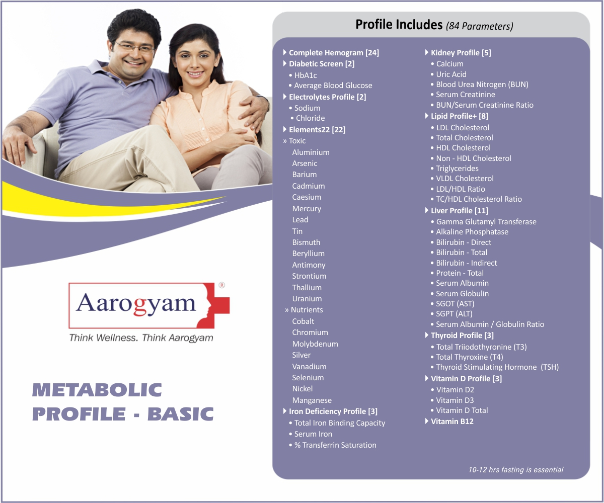 METABOLIC PROFILE - BASIC in Bengaluru @₹2100 Only | 84 Tests | Thyrocare