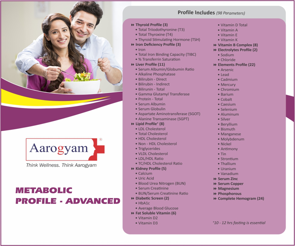 METABOLIC PROFILE - ADVANCED in Pune @₹2820 Only | 98 Tests | Thyrocare