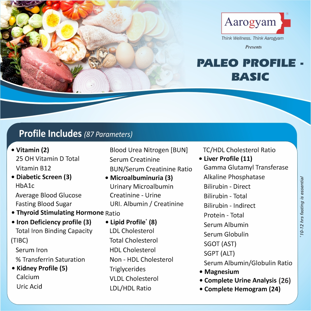 PALEO PROFILE - BASIC in Chennai @₹1660 Only | 79 Tests | Thyrocare